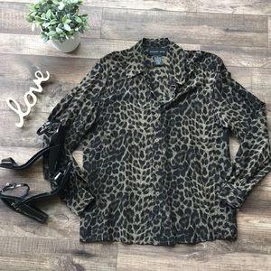 August Silk 100% Silk Leopard Print Blouse